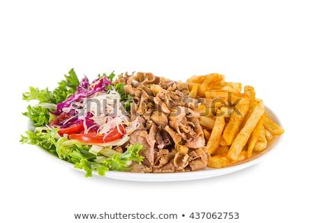 Turks plaat kebab zwarte vlees salade Stockfoto © grafvision