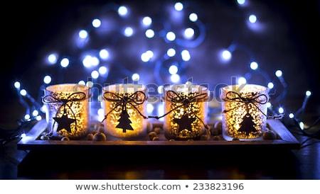 Decorato avvento candele arancione Natale mercato Foto d'archivio © neirfy