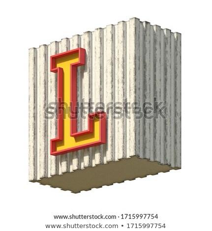 Klasszikus beton piros citromsárga betűtípus l betű Stock fotó © djmilic