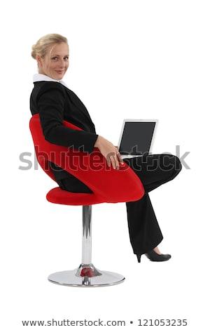 Woman sat at laptop Stock photo © photography33