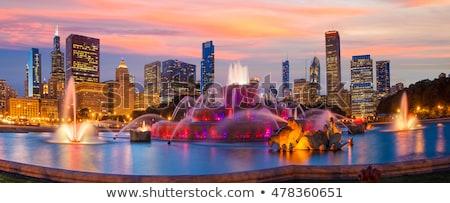 Chicago · sziluett · szökőkút · panoráma · felhőkarcolók · segély - stock fotó © capturelight