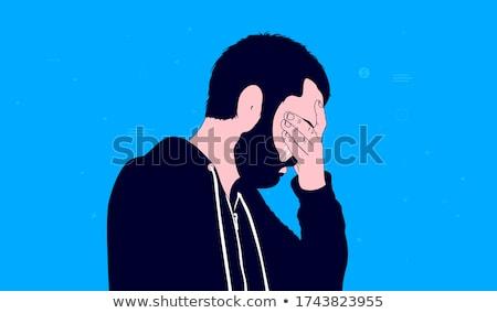 Homme tête larmes illustration silhouette courir Photo stock © adrian_n