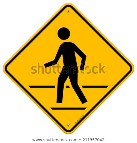Geel · voetganger · teken · weg · stad - stockfoto © fouroaks