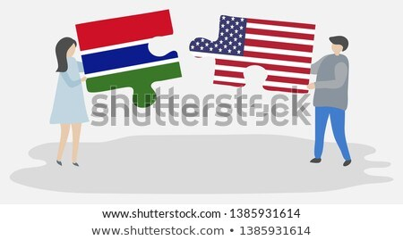 Stock photo: USA and Gambia Flags in puzzle