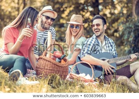 Mutlu arkadaşlar park piknik adam Stok fotoğraf © wavebreak_media
