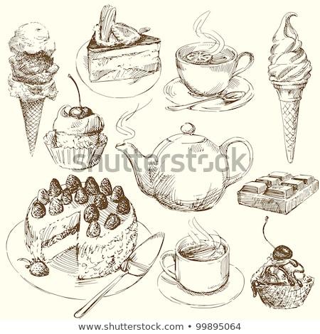 рисованной кофе коллекция именинный торт отлично прибыль на акцию Сток-фото © netkov1