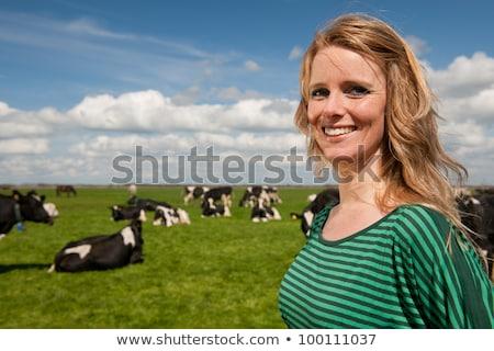 Holandês feminino jeans engraçado holandês isolado Foto stock © ivonnewierink