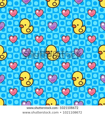 Vector of yellow rubber ducks swimming in hearts Stock photo © adrian_n