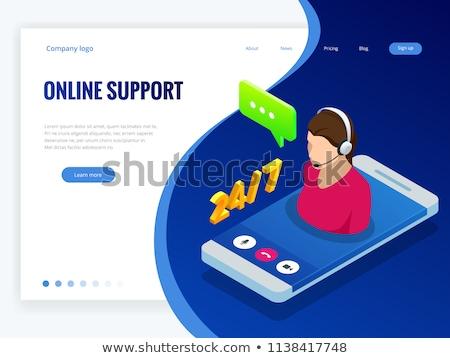 изометрический онлайн поддержки женщины клиент службе Сток-фото © Genestro