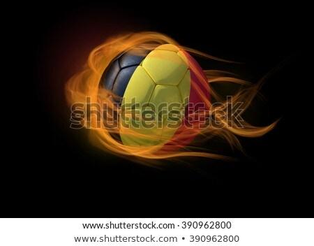 サッカー 炎 フラグ ベルギー 黒 3次元の図 ストックフォト © MikhailMishchenko