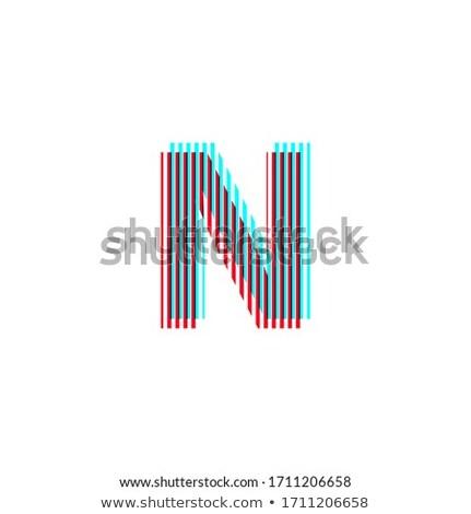Piros kék n betű függőleges csíkok vektor Stock fotó © cidepix