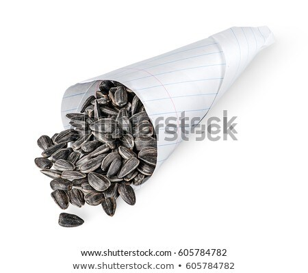Sunflower seeds in paper packet isolated on white background. Vector cartoon close-up illustration. Stock photo © Lady-Luck