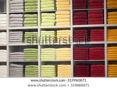 colorful towel shop stacked in rolled rows Stock photo © lunamarina
