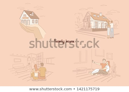 Foto stock: Feliz · casal · futuro · cor · bandeira