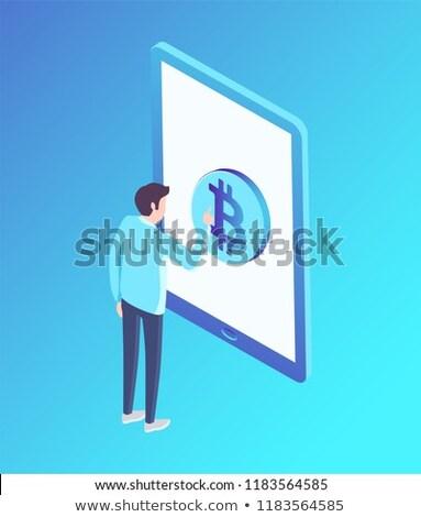 Bitcoin Rounded Shape Screen Vector Illustration Stock photo © robuart