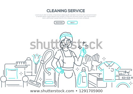 Cleaning service - modern line design style web banner Stock photo © Decorwithme