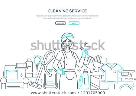 kadın · lastik · eldiven · kadın · temizlik · temizlik · komik · karikatür - stok fotoğraf © decorwithme