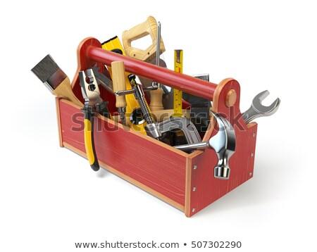Houten toolbox geïsoleerd 3d illustration huis Stockfoto © ISerg