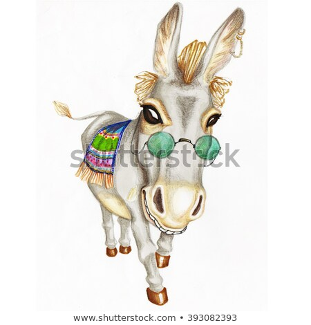 Hand drawn watercolor donkey with green glasses stock photo © bonnie_cocos