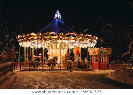 A carousel in the park at night Stock photo © bluering