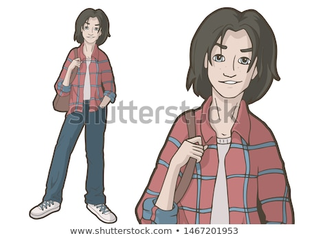 Derűs fiatalember visel kockás póló áll Stock fotó © deandrobot