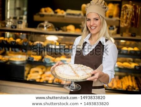 feminino · padaria · trabalhador · posando · maçã - foto stock © boggy