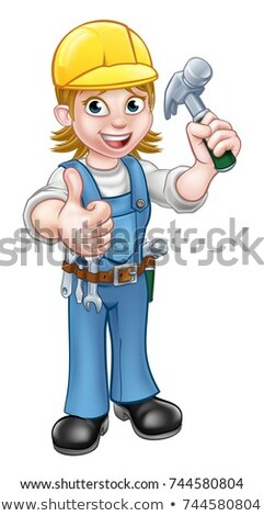 Handyman Hand Fist Holding a Hammer Cartoon Stock photo © Krisdog