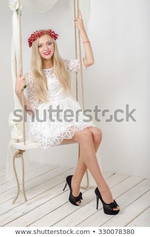 mulher · loira · pernas · longas · coroa · cabeça · floresta - foto stock © ElenaBatkova
