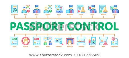 Pasaporte control comprobar mínimo infografía banner Foto stock © pikepicture