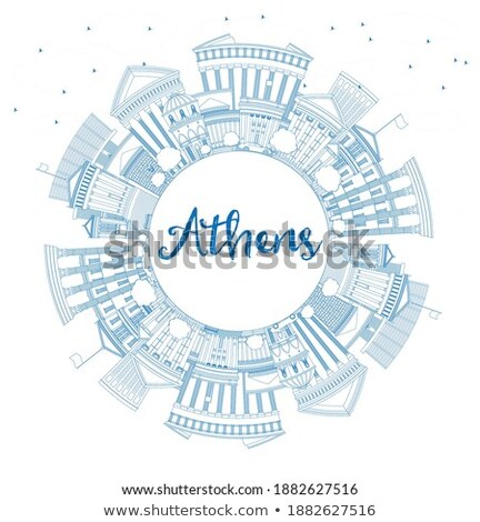 Outline Athens Skyline with Blue Buildings and copy space Stock photo © ShustrikS