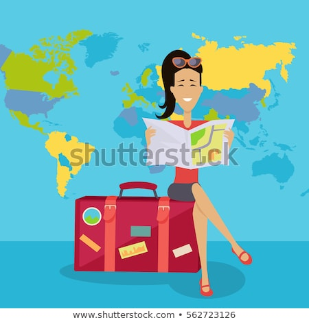 Traveling Woman with Luggage, Personage with Bag Stock photo © robuart