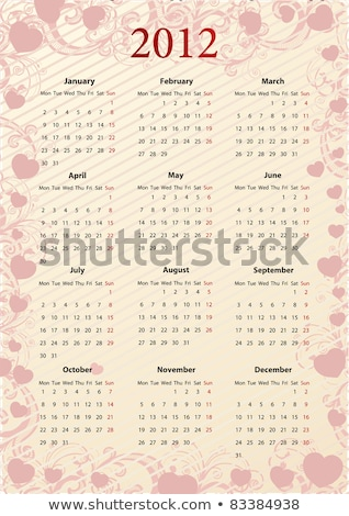 Vector European Calendar For Valentines Day Photo stock © Elisanth