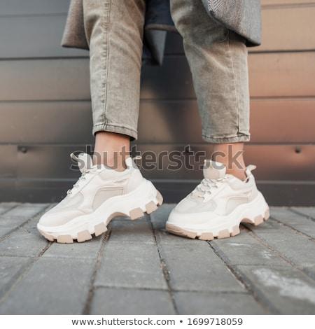 пару · новых · белый · кроссовки · изолированный · женщину - Сток-фото © ruslanomega