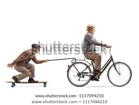 senior · ciclista · homem · estrada · bicicleta · olhando - foto stock © photography33