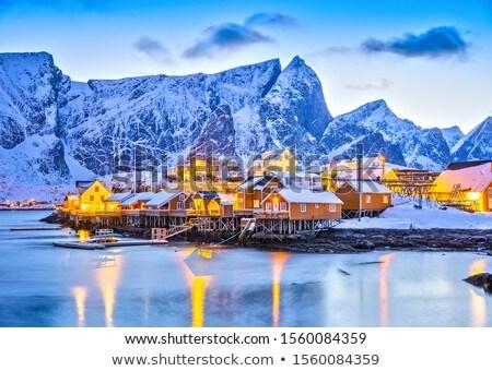 Noors dorp schilderachtig eilanden zomer straat Stockfoto © Harlekino