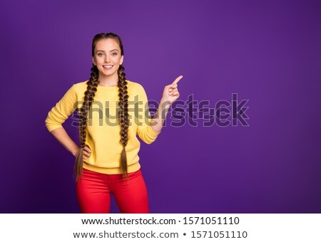 beauty woman fashion model girl with long brown hair showing je stock photo © victoria_andreas
