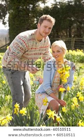 Romantikus pár szőlőszüret tavasz nárciszok nő Stock fotó © monkey_business