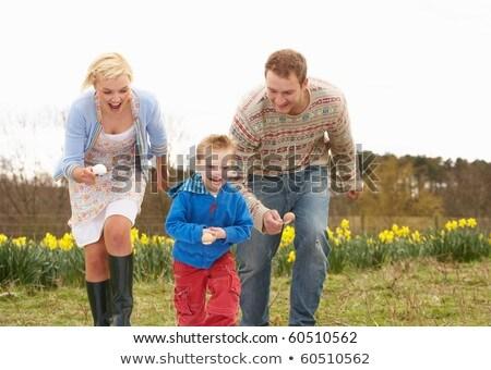 Famiglia uovo cucchiaio gara donna ragazza Foto d'archivio © monkey_business