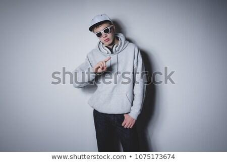 moda · modelo · óculos · de · sol · branco - foto stock © feelphotoart