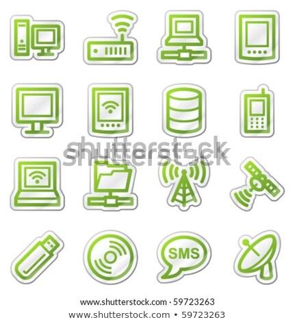 Antena satelitarna podpisania zielone wektora ikona przycisk Zdjęcia stock © rizwanali3d