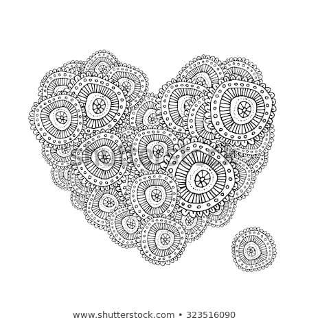 abstract Valentine card with scrolls, circles  and heart shape - Stock photo © WaD