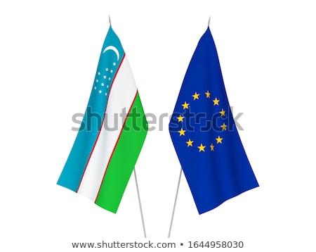 Európai szövetség Üzbegisztán zászlók puzzle izolált Stock fotó © Istanbul2009