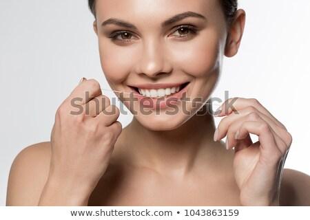 Kadın dişler güzel genç kadın beyaz diş diş Stok fotoğraf © Kurhan