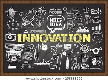 business innovation on chalkboard with doodle icons stock photo © tashatuvango