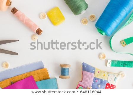 színes · fonál · varr · tű · gyűszű · tarka - stock fotó © oleksandro