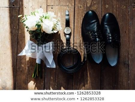 Wedding lo sposo accessori scarpe bouquet cintura Foto d'archivio © ruslanshramko