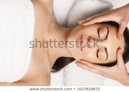 közelkép · nyugodt · nő · fej · masszázs · fürdő - stock fotó © dolgachov