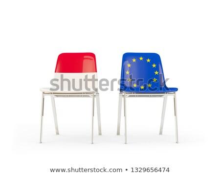 Dwa krzesła flagi Indonezja europejski Unii Zdjęcia stock © MikhailMishchenko