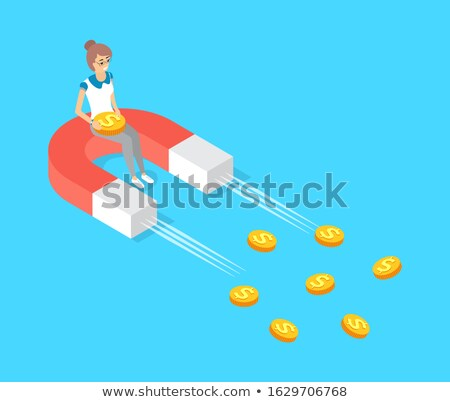 Moving Magnet Attracting Gold Money Dollar Cash Stock photo © robuart