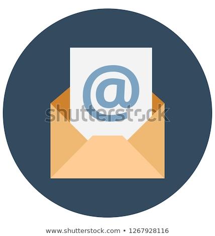 Newsletter · blau · Umschlag · Symbol · isoliert · weiß - stock foto © montego